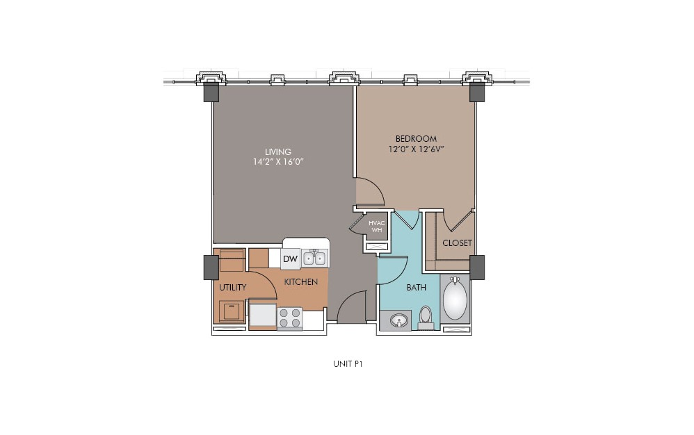 P1 - 1 bedroom floorplan layout with 1 bath and 653 square feet.