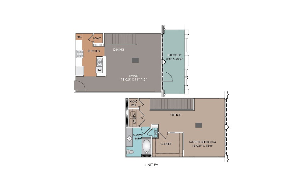 P10 - 1 bedroom floorplan layout with 1.5 bath and 1041 square feet.