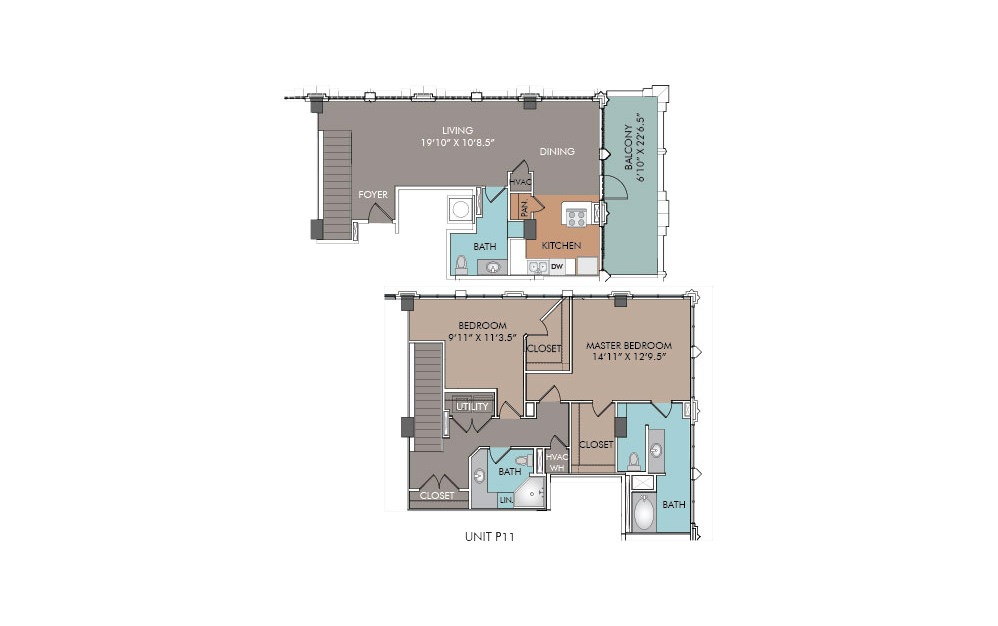 P11 - 2 bedroom floorplan layout with 2.5 baths and 1512 square feet.