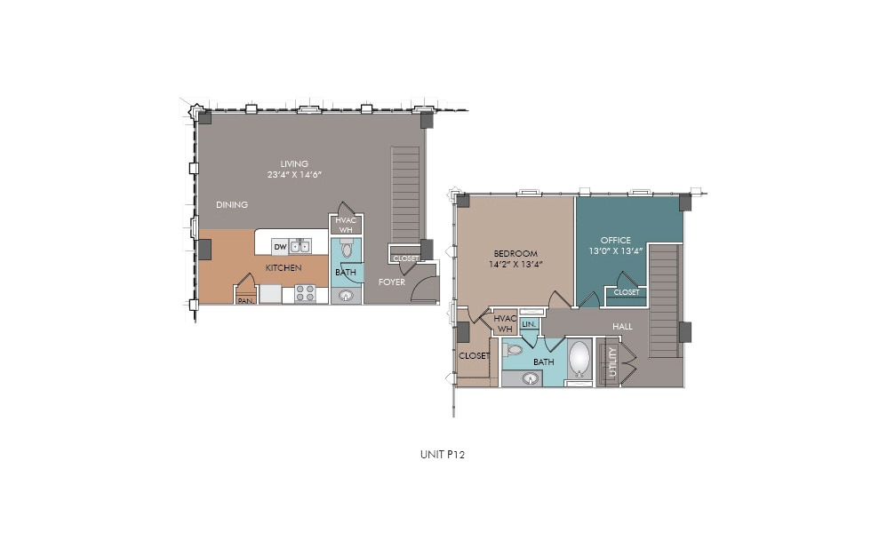 P12 - 1 bedroom floorplan layout with 1.5 bath and 1226 square feet.
