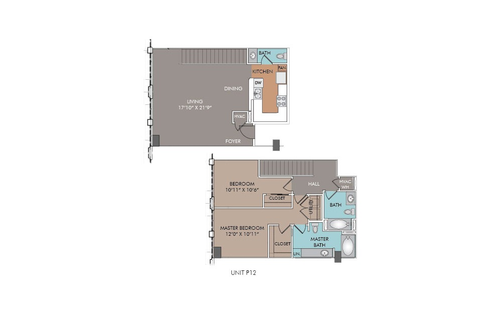 P13 - 2 bedroom floorplan layout with 2.5 baths and 1245 square feet.