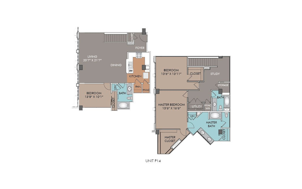 P14 - 3 bedroom floorplan layout with 3 baths and 2024 square feet.