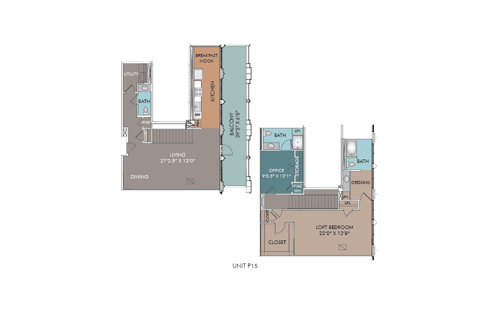P15 - 1 bedroom floorplan layout with 2.5 baths and 1636 square feet.