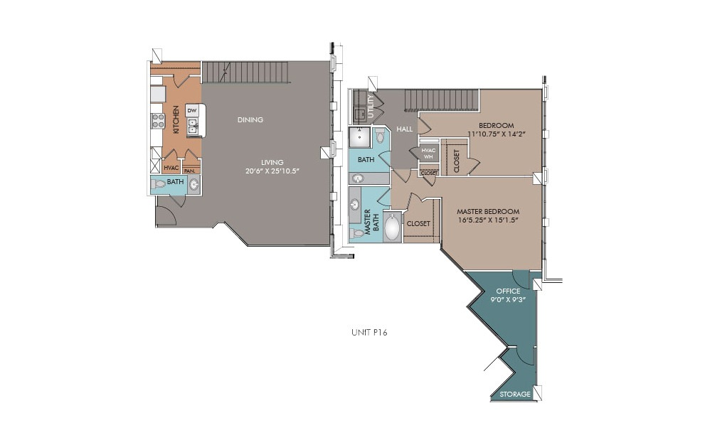 P16 - 2 bedroom floorplan layout with 2.5 baths and 1782 square feet.