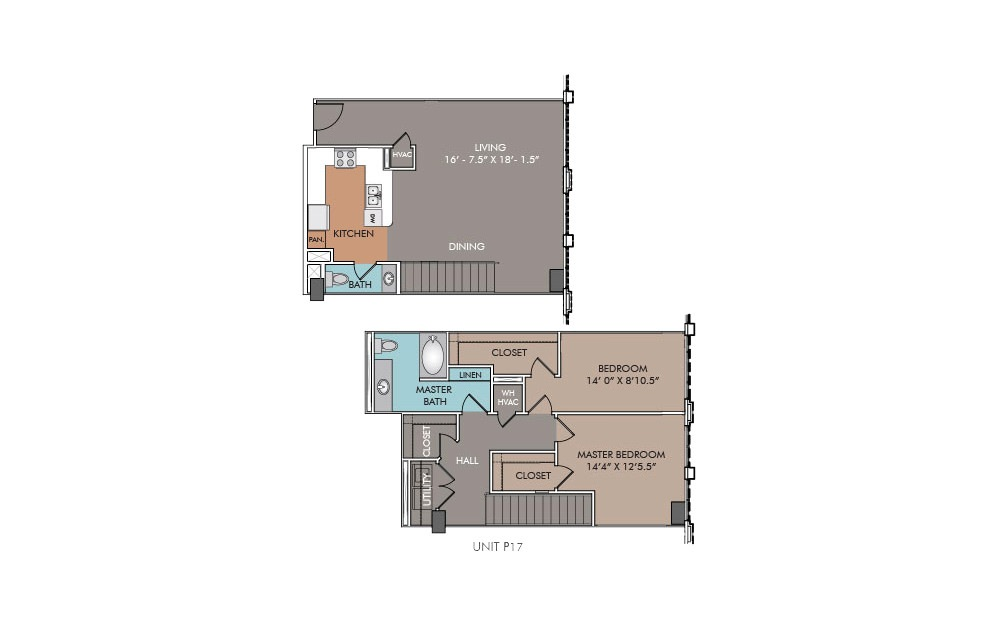 P17 - 2 bedroom floorplan layout with 1.5 bath and 1301 square feet.