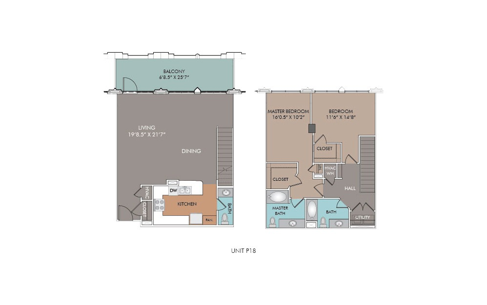 P18 - 2 bedroom floorplan layout with 2.5 baths and 1455 square feet.