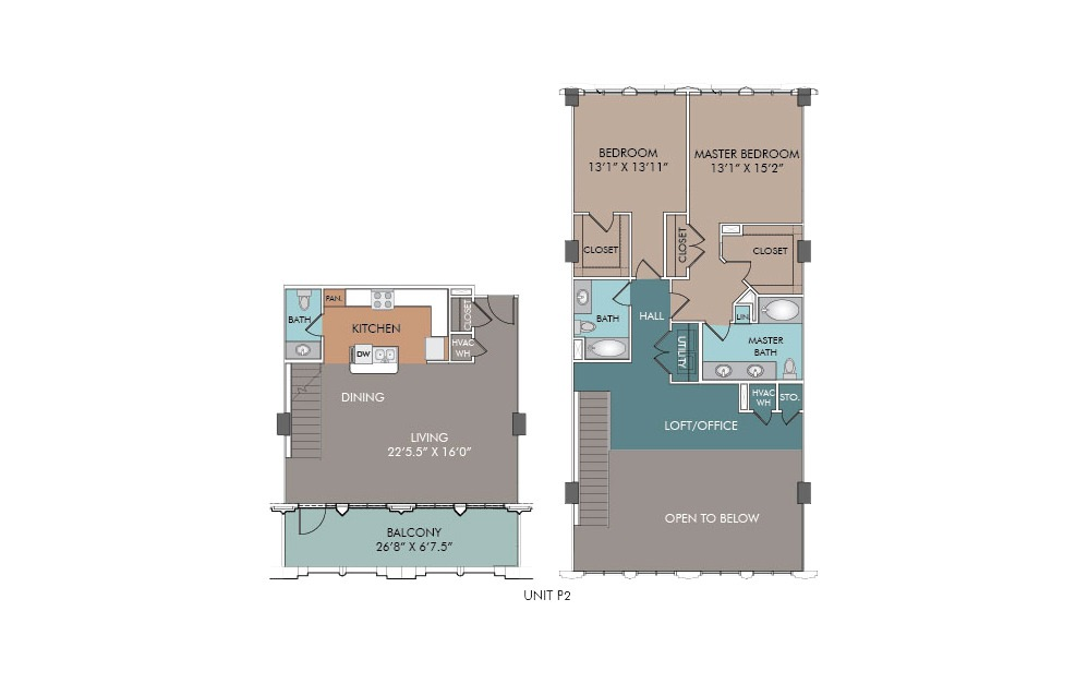 P2 - 2 bedroom floorplan layout with 2.5 baths and 1717 square feet.