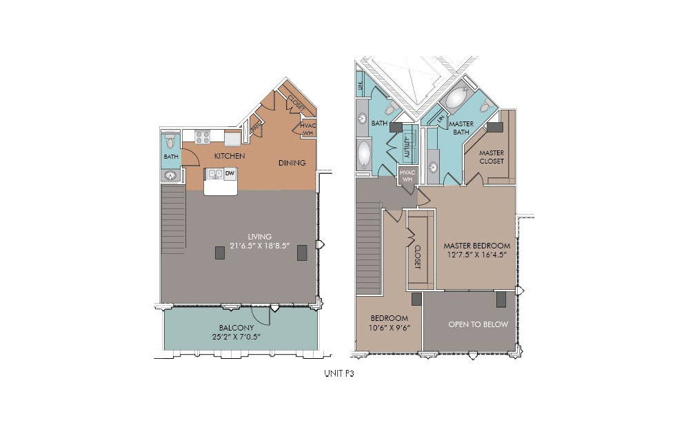 P3 - 2 bedroom floorplan layout with 2.5 baths and 1630 square feet.