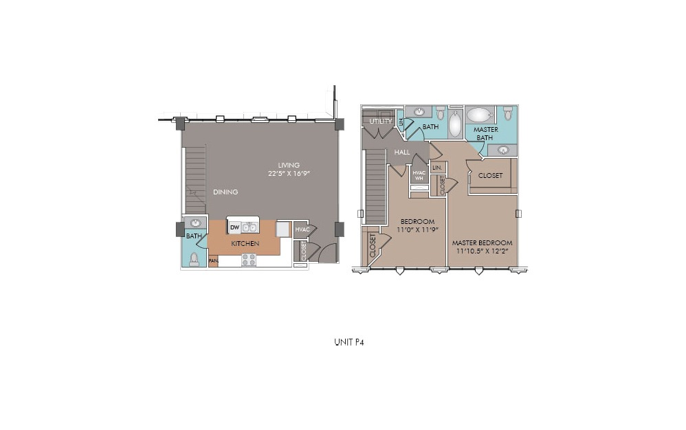 P4 - 2 bedroom floorplan layout with 2.5 baths and 1319 square feet.