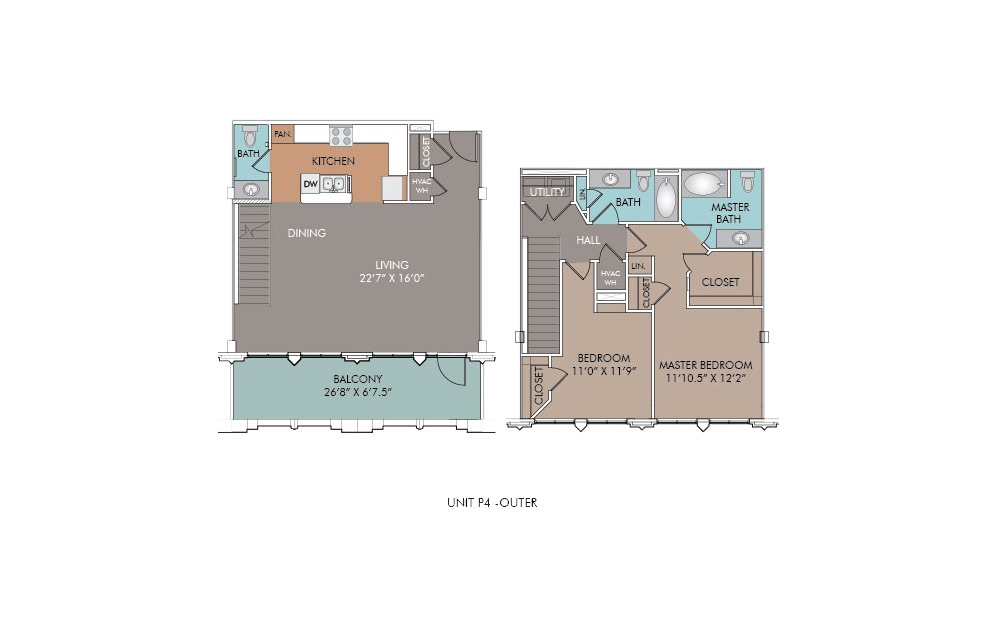 P4-Outer - 2 bedroom floorplan layout with 2.5 baths and 1350 square feet.