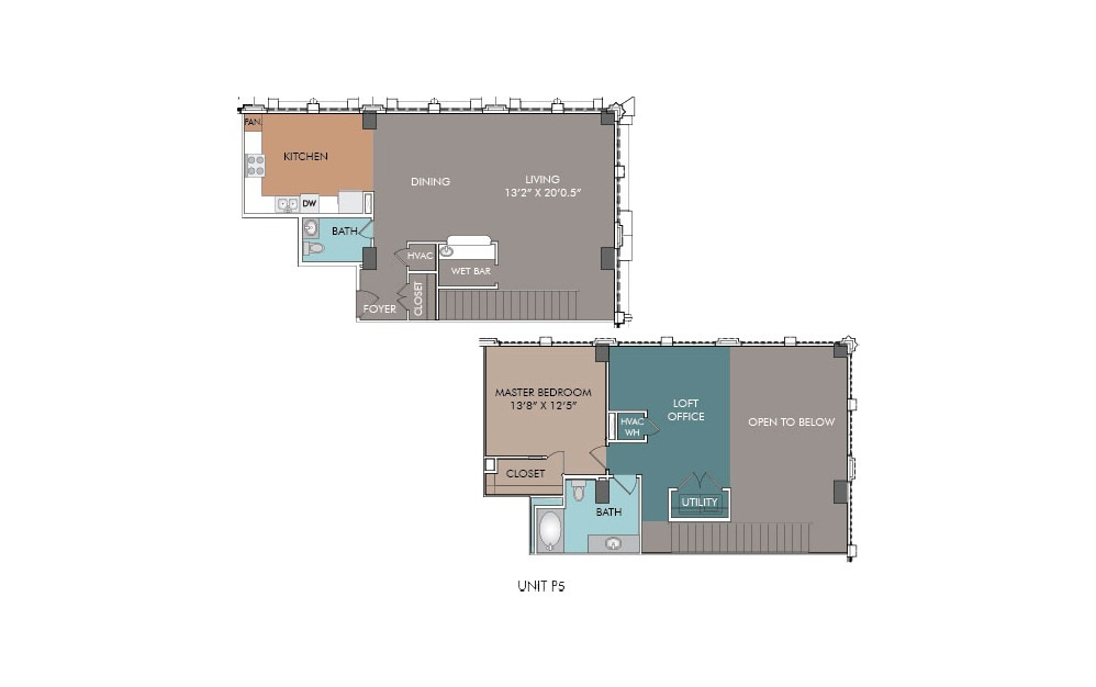 P5 - 1 bedroom floorplan layout with 1.5 bath and 1457 square feet.