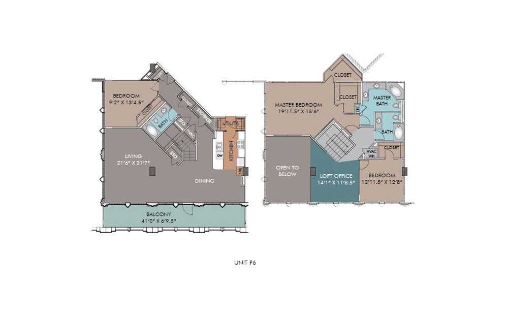 P6 - 3 bedroom floorplan layout with 3 baths and 2450 square feet.