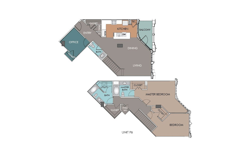 P8 - 2 bedroom floorplan layout with 2.5 baths and 1654 square feet.