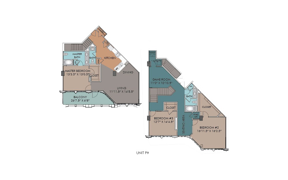 P9 - 3 bedroom floorplan layout with 2.5 baths and 2104 square feet.