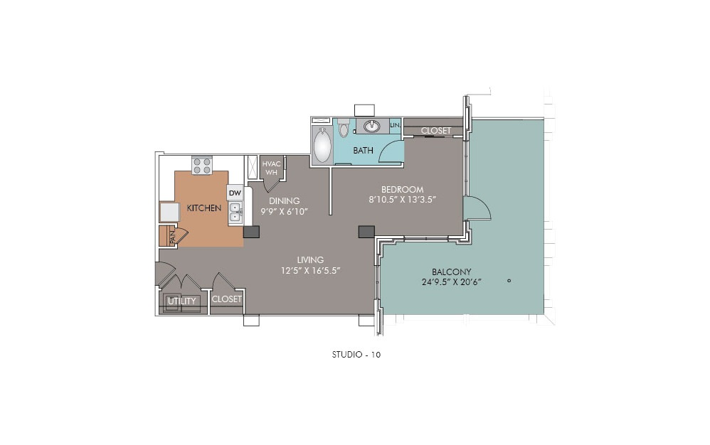 S10 - Studio floorplan layout with 1 bath and 755 square feet.