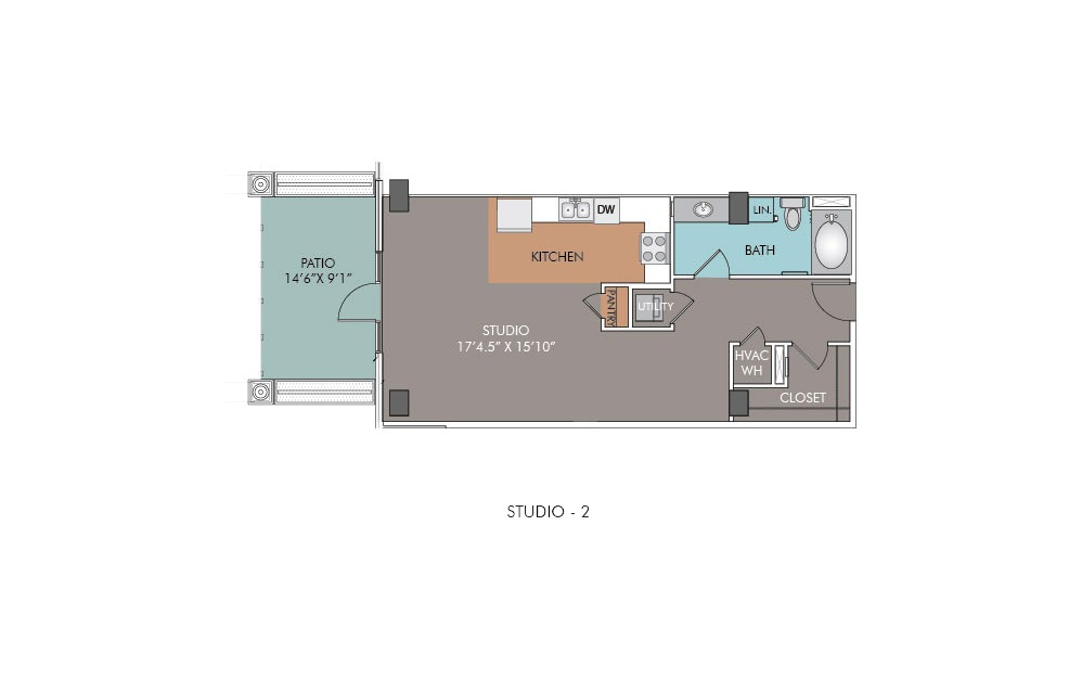 S2 - Studio floorplan layout with 1 bath and 663 square feet.