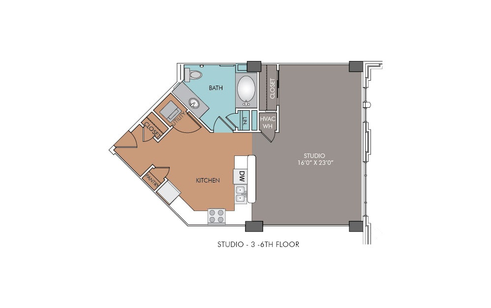 S3-6 - Studio floorplan layout with 1 bath and 695 square feet.