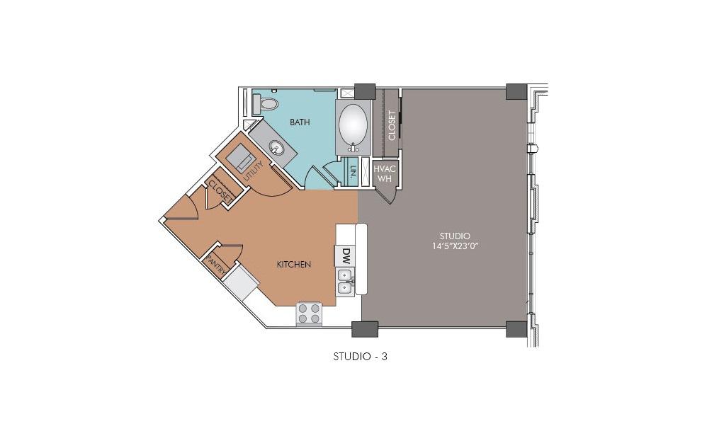 S3 - Studio floorplan layout with 1 bath and 688 square feet.