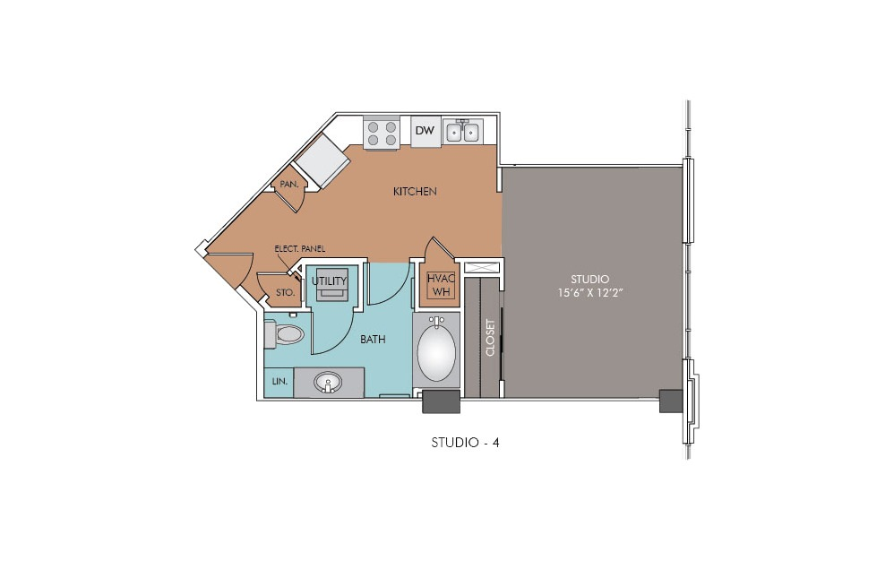 S4 - Studio floorplan layout with 1 bath and 495 square feet.