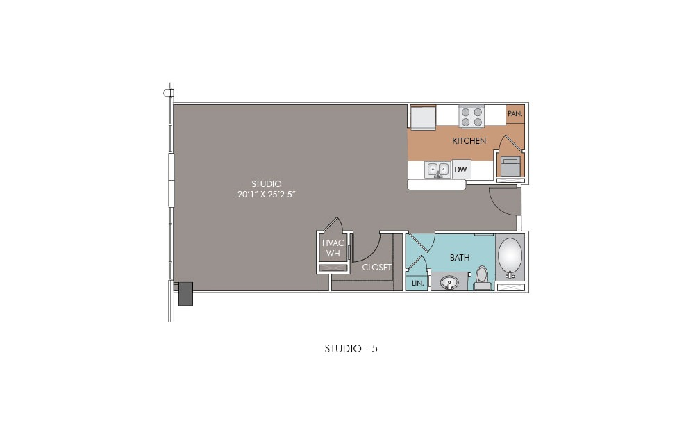 S5 - Studio floorplan layout with 1 bath and 757 square feet.