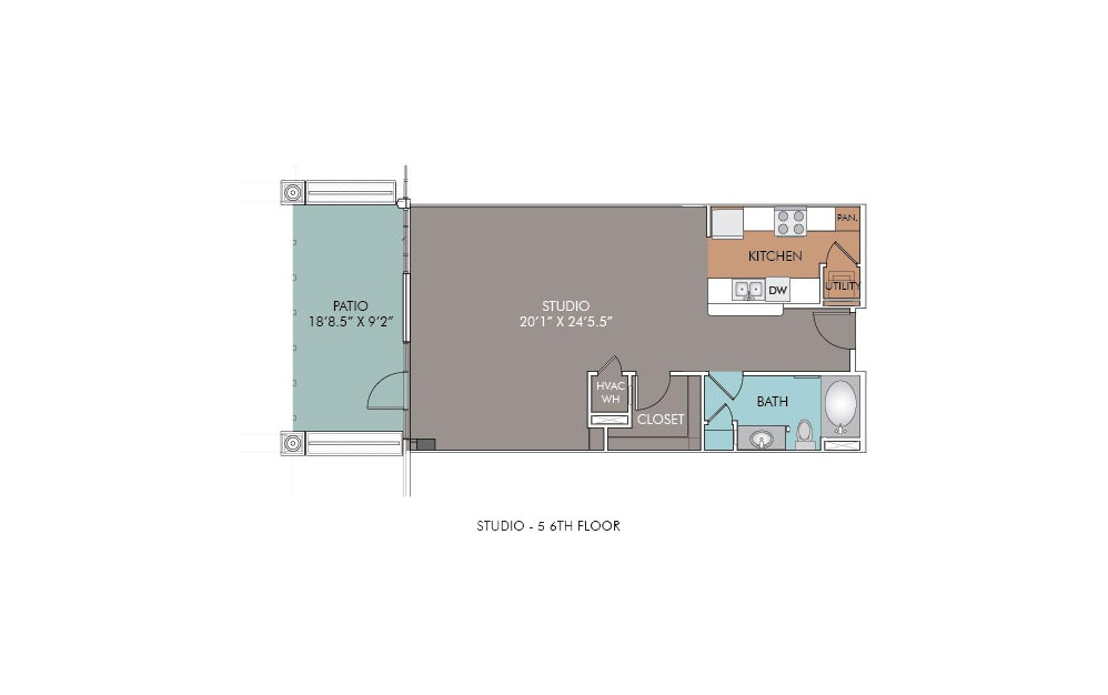 S5-6 - Studio floorplan layout with 1 bath and 742 square feet.