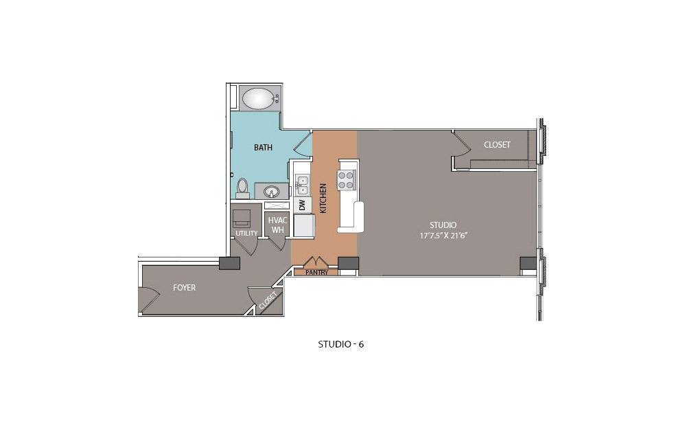 S6 - Studio floorplan layout with 1 bath and 782 square feet.