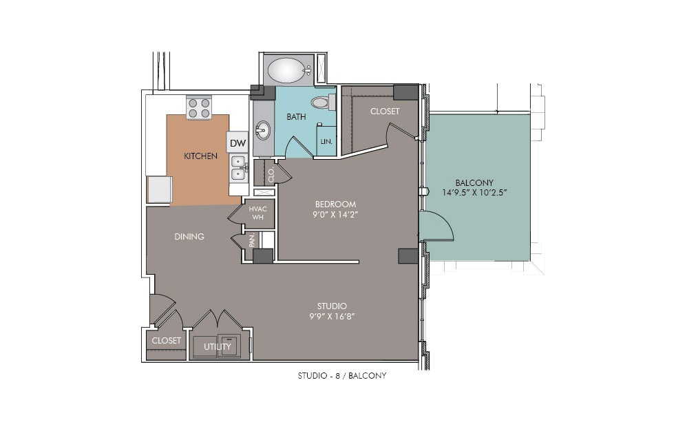 S8-Balcony - Studio floorplan layout with 1 bath and 763 square feet.