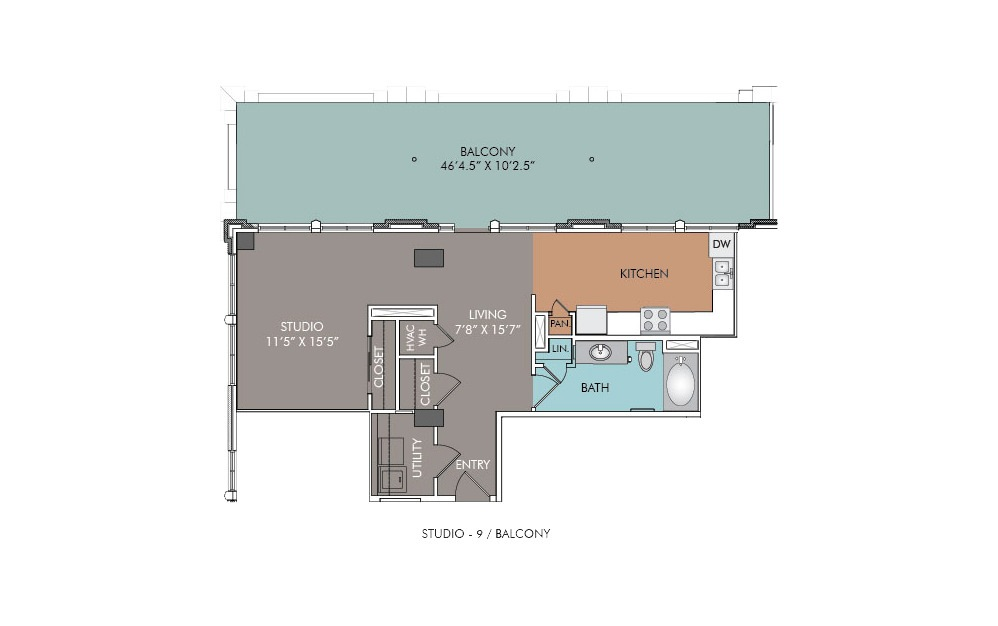 S9-Balcony - Studio floorplan layout with 1 bath and 731 square feet.